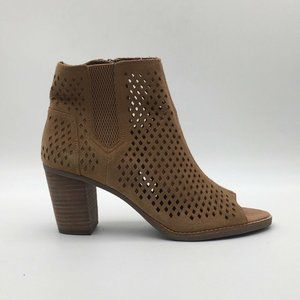 Toms Womens Peep Toe Booties Brown Size 10 New